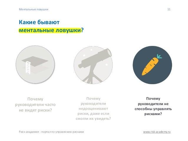 www.risk-academy.ru 11 Какие бывают ментальные ловушки? Почему руководители не способны управлять рисками? Почему руководи...