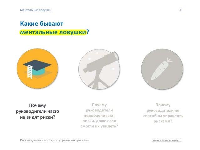 www.risk-academy.ru 4 Какие бывают ментальные ловушки? Почему руководители не способны управлять рисками? Почему руководит...