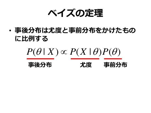 ベイズの定理 • 事後分布は尤度と事前分布をかけたもの に比例する )()|()|(  PXPXP  事後分布 尤度 事前分布