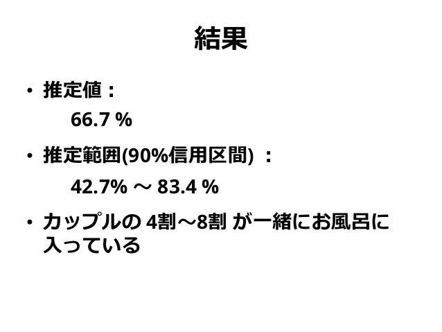 結果 • 推定値: 66.7 % • 推定範囲(90%信用区間) : 42.7% ~ 83.4 % • カップルの 4割~8割 が一緒にお風呂に 入っている
