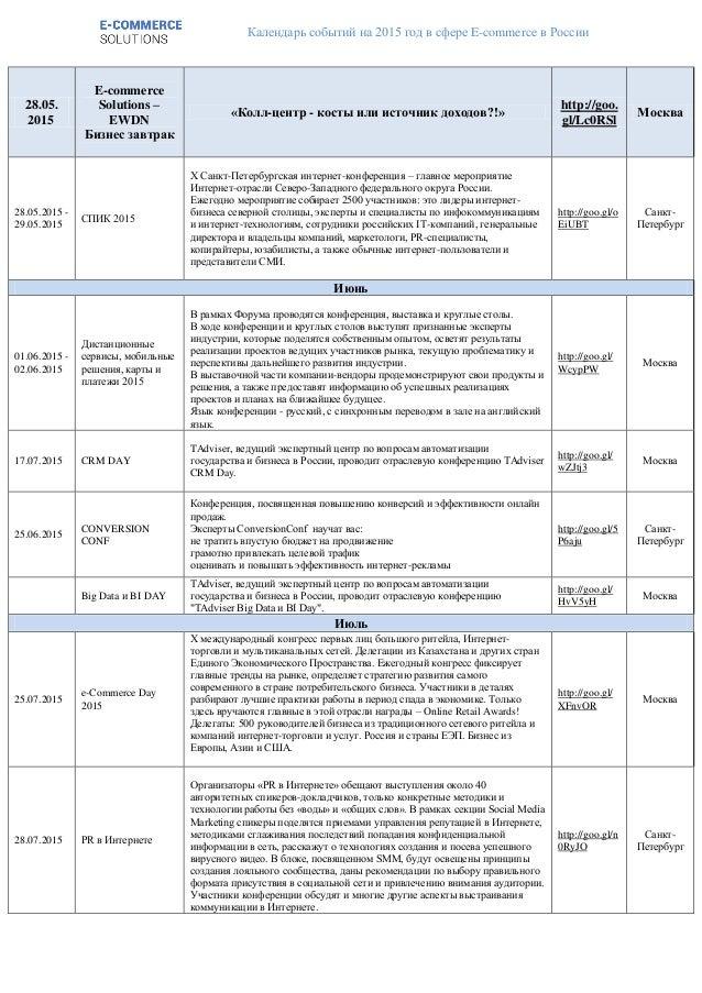 Календарь событий на 2015 год в сфере E-commerce в России 28.05. 2015 E-commerce Solutions – EWDN Бизнес завтрак «Колл-цен...