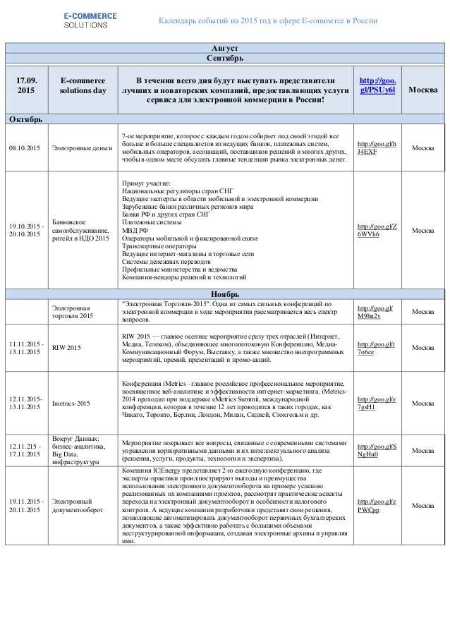 Календарь событий на 2015 год в сфере E-commerce в России Август Сентябрь 17.09. 2015 E-commerce solutions day В течении в...
