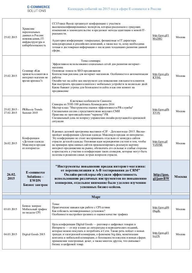 Календарь событий на 2015 год в сфере E-commerce в России 25.02.2015 Хранение персональных данных в России: нововведения, ...