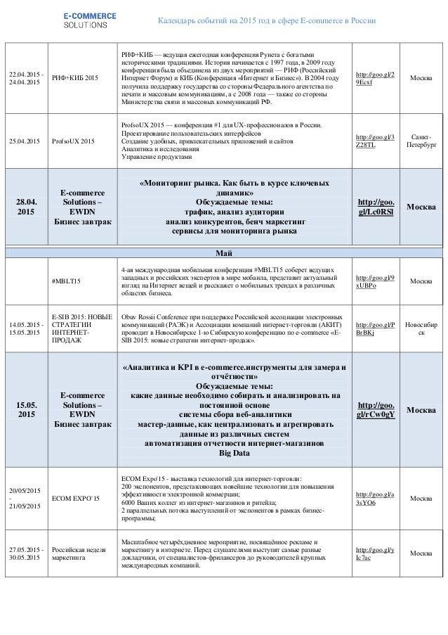 Календарь событий на 2015 год в сфере E-commerce в России 22.04.2015 - 24.04.2015 РИФ+КИБ 2015 РИФ+КИБ — ведущая ежегодная...