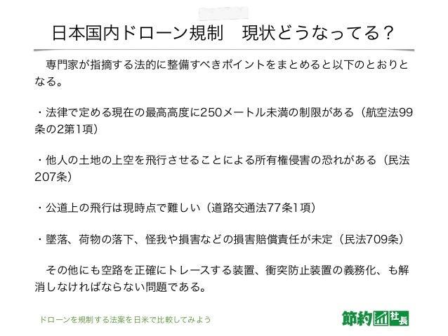 日本国内ドローン規制現状どうなってる? 専門家が指摘する法的に整備すべきポイントをまとめると以下のとおりと なる。 ・法律で定める現在の最高高度に250メートル未満の制限がある(航空法99 条の2第1項) ・他人の土地の上空を飛行させること...