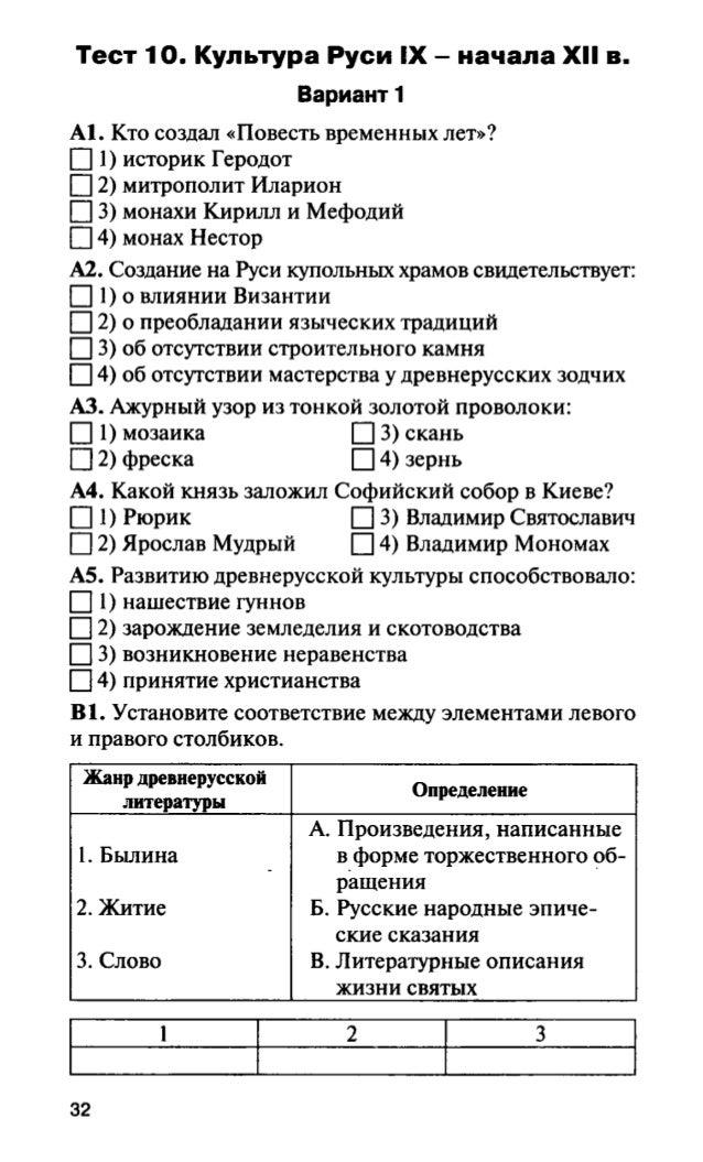 История 10 класс тест: древнерусское государство ответы