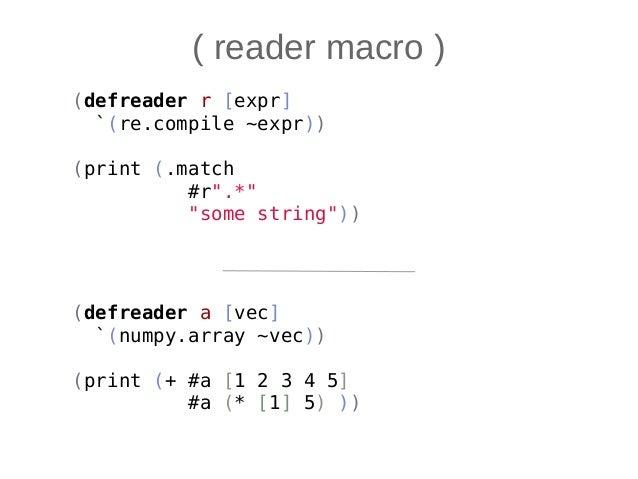 • Hy -- это Python на S-exprs • Есть плюсы, есть минусы • Непривычный синтаксис • Местами многословный • Ма-акрос! • Гибко...
