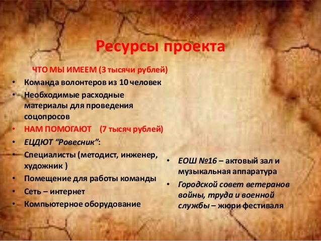 Ресурсы проекта ЧТО МЫ ИМЕЕМ (3 тысячи рублей) • Команда волонтеров из 10 человек • Необходимые расходные материалы для пр...