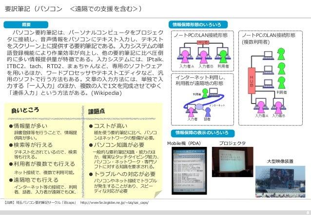 要訳筆記(パソコン <遠隔での支援を含む>) 8 パソコン要約筆記は、パーソナルコンピュータをプロジェク タに接続し、音声情報をパソコンにテキスト入力し、テキスト をスクリーン上に提供する要約筆記である。入力システムの単 語登録機能により作業効...