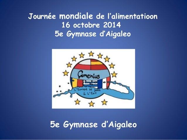 5e Gymnase d'Aigaleo Journée mondiale de l'alimentatioon 16 octobre 2014 5e Gymnase d'Aigaleo