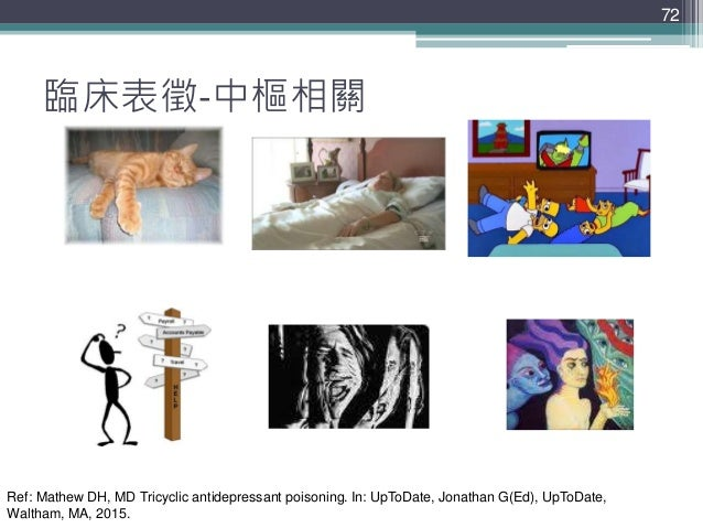 72 72 臨床表徵-中樞相關 混亂 譫妄 幻覺 讓人想睡 癲癇昏迷 Ref: Mathew DH, MD Tricyclic antidepressant poisoning. In: UpToDate, Jonathan G(Ed), Up...
