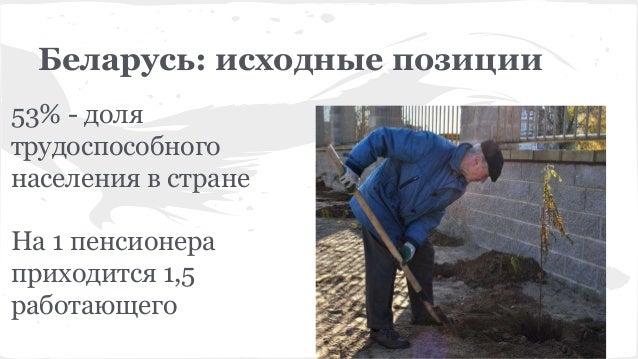 Беларусь: исходные позиции 53% - доля трудоспособного населения в стране На 1 пенсионера приходится 1,5 работающего