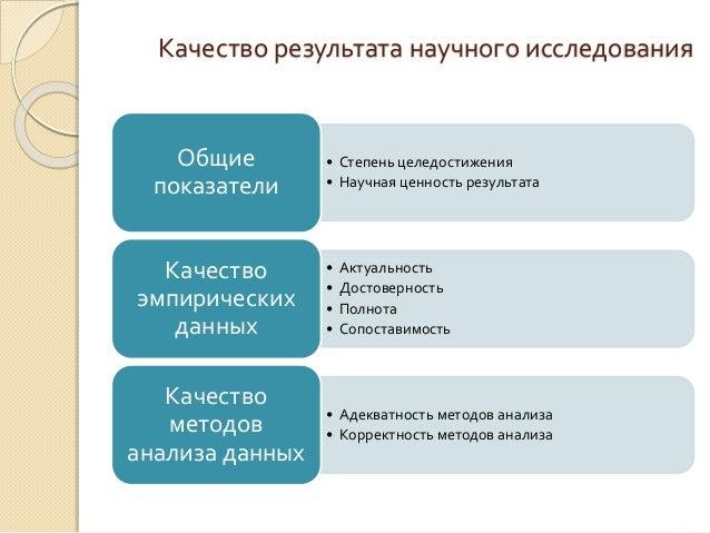 Научные методы исследований в дипломной работе студента  10 Качество результата научного исследования