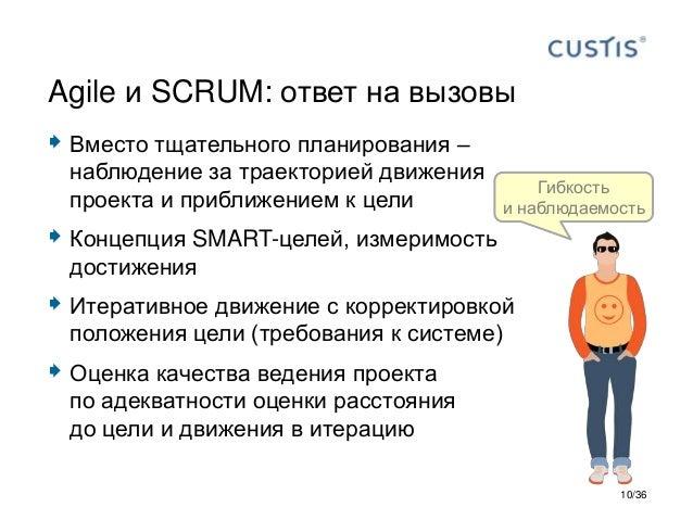  Вместо тщательного планирования – наблюдение за траекторией движения проекта и приближением к цели  Концепция SMART-цел...