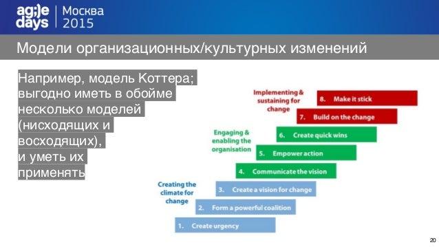 20 Модели организационных/культурных изменений Например, модель Коттера; выгодно иметь в обойме несколько моделей (нисходя...