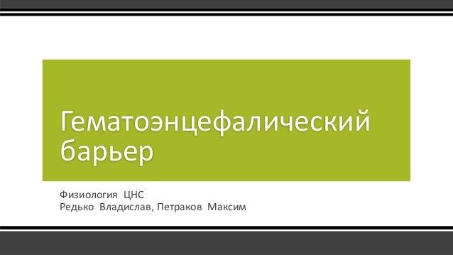 Физиология ЦНС Редько Владислав, Петраков Максим Гематоэнцефалический барьер