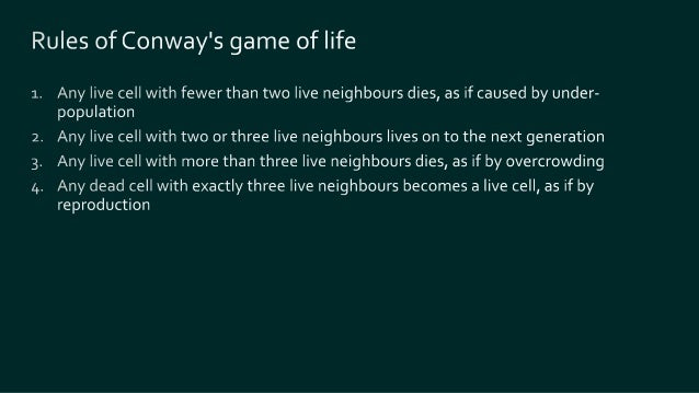 let isAlive population cell = population |> List.exists ((=) cell) let aliveNeighbours population cell = neighbours cell |...