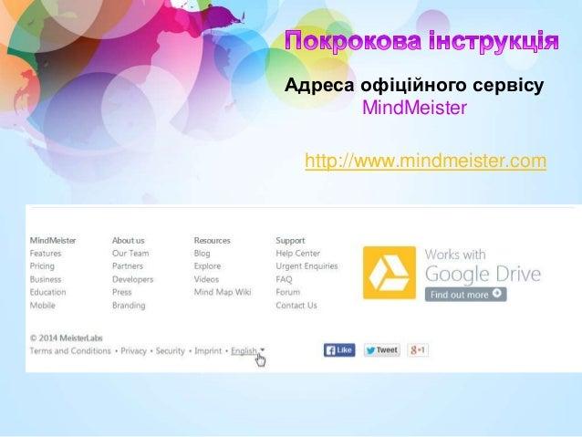 http://www.mindmeister.com Адреса офіційного сервісу MindMeister