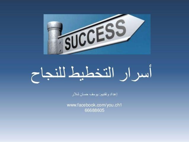 للنجاح التخطيط أسرار وتقديم إعداد:شالر حسان يوسف www.facebook.com/you.ch1 66688605