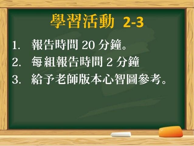 學習活動 2-3 1. 報告時間 20 分鐘。 2. 組報告時間每 2 分鐘 3. 給予老師版本心智圖參考。