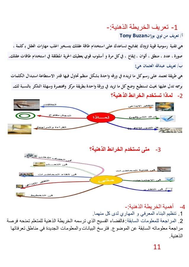 11 1-:الذهنية الخريطة تعريف- /أانزبو توين من يفرتعTony Buzan تقنية هي، كلمةـب العقل ا...