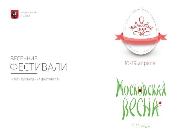 ВЕСЕННИЕ ФЕСТИВАЛИ Итоги проведения фестивалей 10-19 апреля 1-11 мая ПРАВИТЕЛЬСТВО МОСКВЫ