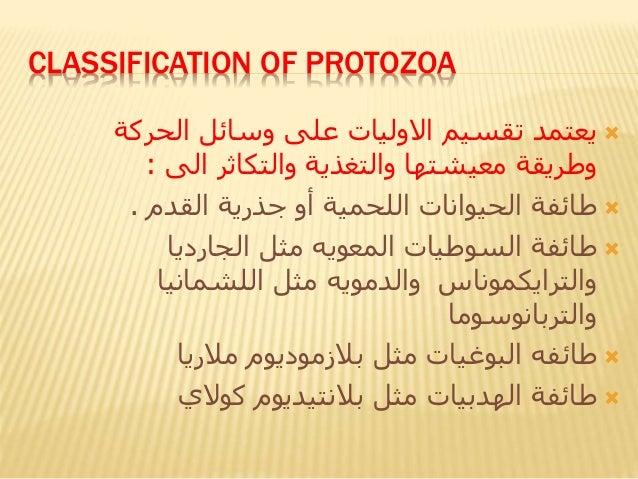 CLASSIFICATION OF PROTOZOA تقسيم يعتمداالولياتالحركة وسائل على والتكاثر والتغذية معيشتها وطريقةالى:...