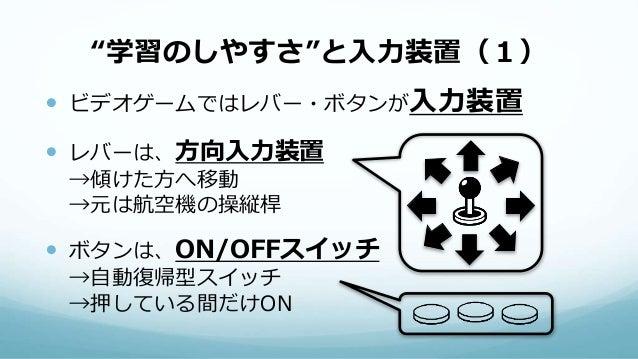 """""""学習のしやすさ""""と入力装置(1)  ビデオゲームではレバー・ボタンが入力装置  レバーは、方向入力装置 →傾けた方へ移動 →元は航空機の操縦桿  ボタンは、ON/OFFスイッチ →自動復帰型スイッチ →押している間だけON"""