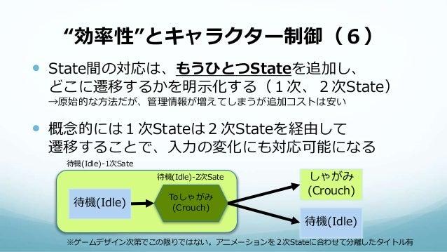 """""""効率性""""とキャラクター制御(6)  State間の対応は、もうひとつStateを追加し、 どこに遷移するかを明示化する(1次、2次State) →原始的な方法だが、管理情報が増えてしまうが追加コストは安い  概念的には1次Stateは2次..."""