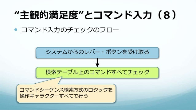 """""""主観的満足度""""とコマンド入力(8)  コマンド入力のチェックのフロー システムからのレバー・ボタンを受け取る 検索テーブル上のコマンドすべてチェック コマンドシーケンス検索方式のロジックを 操作キャラクターすべてで行う"""