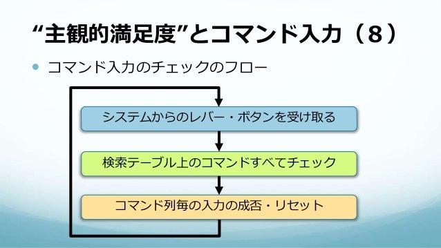 """""""主観的満足度""""とコマンド入力(8)  コマンド入力のチェックのフロー システムからのレバー・ボタンを受け取る 検索テーブル上のコマンドすべてチェック コマンド列毎の入力の成否・リセット"""
