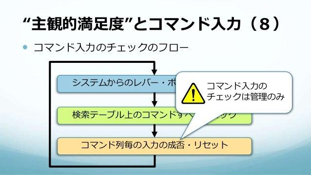 """""""主観的満足度""""とコマンド入力(8)  コマンド入力のチェックのフロー システムからのレバー・ボタンを受け取る 検索テーブル上のコマンドすべてチェック コマンド列毎の入力の成否・リセット コマンド入力の チェックは管理のみ"""