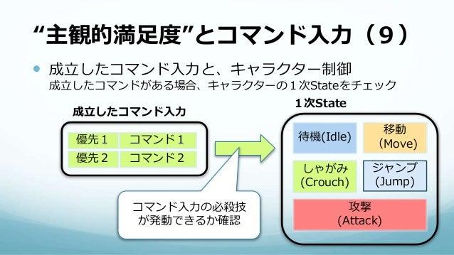 """""""主観的満足度""""とコマンド入力(9)  成立したコマンド入力と、キャラクター制御 成立したコマンドがある場合、キャラクターの1次Stateをチェック 待機(Idle) 移動 (Move) しゃがみ (Crouch) ジャンプ (Jump) 1..."""