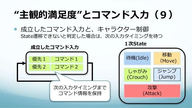 """""""主観的満足度""""とコマンド入力(9)  成立したコマンド入力と、キャラクター制御 State遷移できないと判定した場合は、次の入力タイミングを待つ 待機(Idle) 移動 (Move) しゃがみ (Crouch) ジャンプ (Jump) 1次..."""