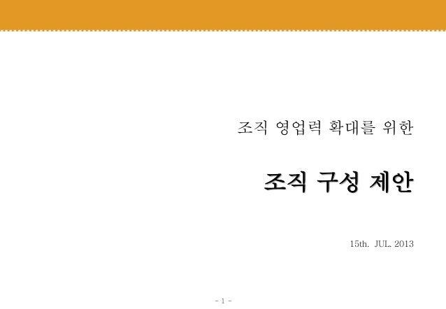 - 1 - 조직 영업력 확대를 위한 조직 구성 제안 15th. JUL. 2013