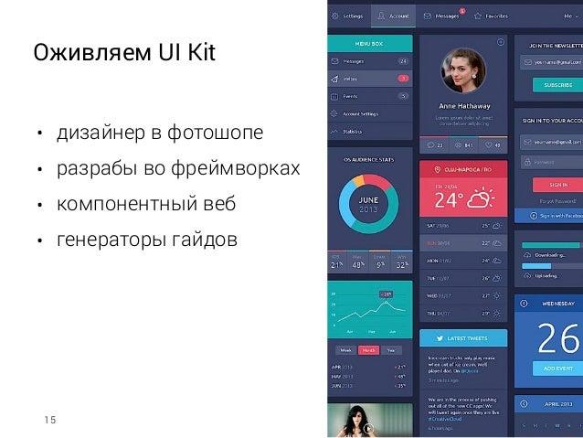 Оживляем UI Kit • дизайнер в фотошопе • разрабы во фреймворках • компонентный веб • генераторы гайдов 15