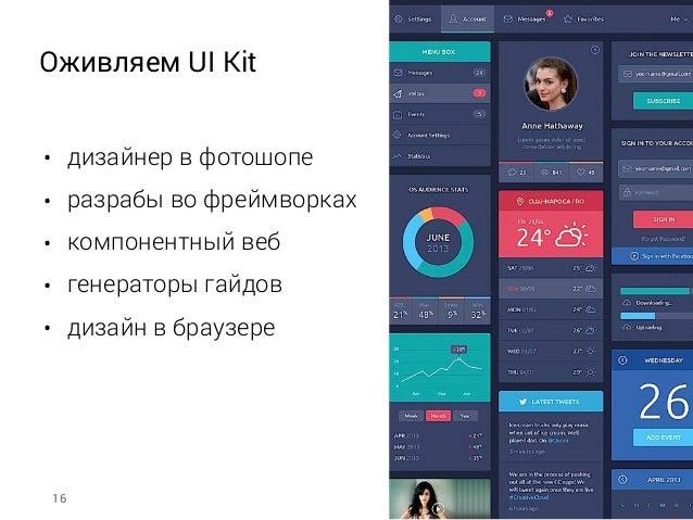 Оживляем UI Kit • дизайнер в фотошопе • разрабы во фреймворках • компонентный веб • генераторы гайдов • дизайн в браузере ...
