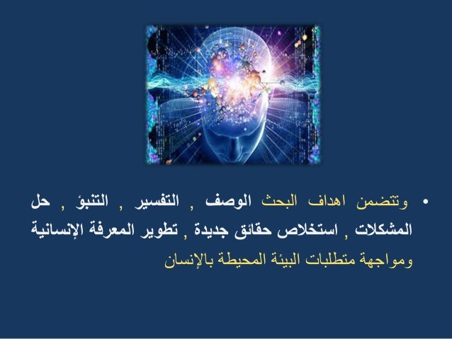•وتتضمناهدافالبحثالوصف,التفسٌر,التنبؤ,حل المشكالت,استخالصحقائقجدٌدة,تطوٌرالمعرفةاإلنسانٌة ومو...