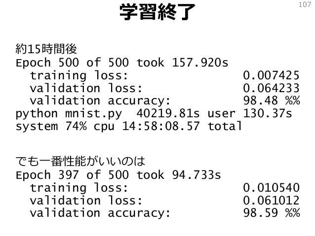 学習終了 約15時間後 Epoch 500 of 500 took 157.920s training loss: 0.007425 validation loss: 0.064233 validation accuracy: 98.48 %%...