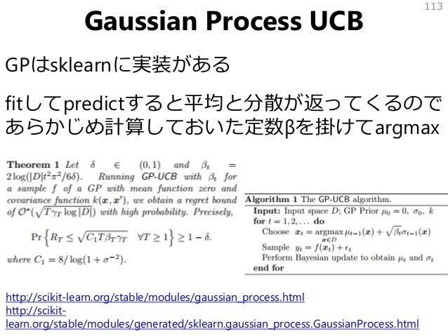Gaussian Process UCB GPはsklearnに実装がある fitしてpredictすると平均と分散が返ってくるので あらかじめ計算しておいた定数βを掛けてargmax 113 http://scikit-learn.org/s...