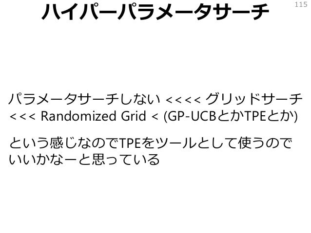 ハイパーパラメータサーチ パラメータサーチしない <<<< グリッドサーチ <<< Randomized Grid < (GP-UCBとかTPEとか) という感じなのでTPEをツールとして使うので いいかなーと思っている 115
