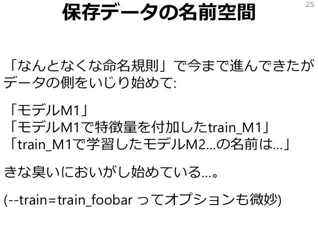 保存データの名前空間 「なんとなくな命名規則」で今まで進んできたが データの側をいじり始めて: 「モデルM1」 「モデルM1で特徴量を付加したtrain_M1」 「train_M1で学習したモデルM2…の名前は…」 きな臭いにおいがし始めている...