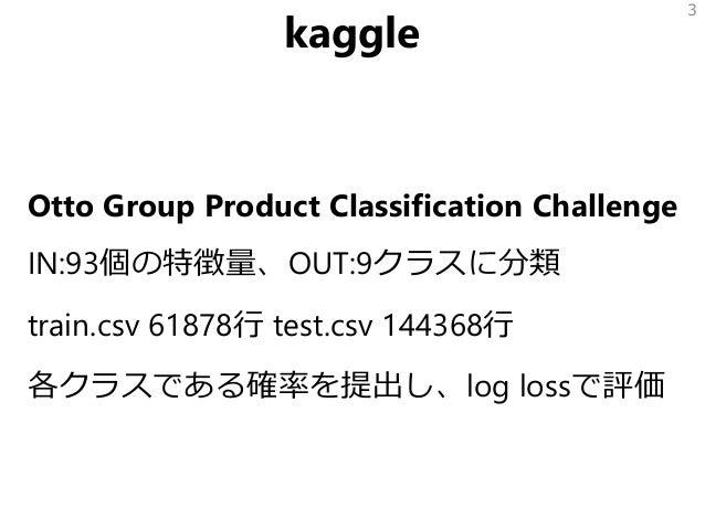 kaggle Otto Group Product Classification Challenge IN:93個の特徴量、OUT:9クラスに分類 train.csv 61878行 test.csv 144368行 各クラスである確率を提出し、...