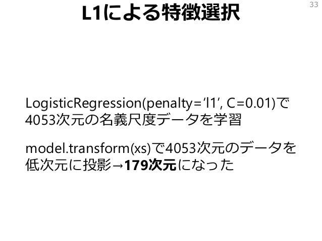 L1による特徴選択 LogisticRegression(penalty='l1', C=0.01)で 4053次元の名義尺度データを学習 model.transform(xs)で4053次元のデータを 低次元に投影→179次元になった 33