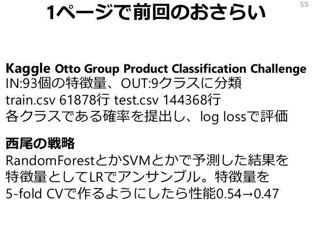 1ページで前回のおさらい Kaggle Otto Group Product Classification Challenge IN:93個の特徴量、OUT:9クラスに分類 train.csv 61878行 test.csv 144368行 各...