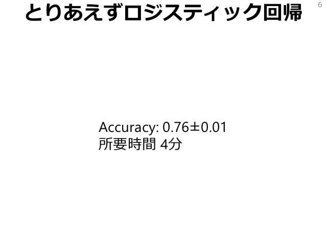 とりあえずロジスティック回帰 Accuracy: 0.76±0.01 所要時間 4分 6