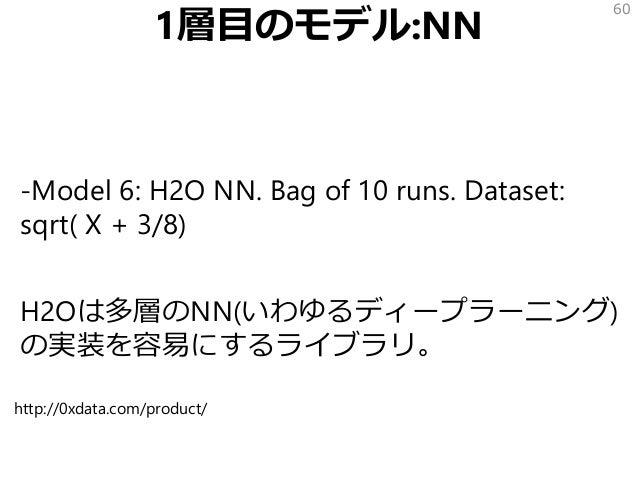1層目のモデル:NN -Model 6: H2O NN. Bag of 10 runs. Dataset: sqrt( X + 3/8) H2Oは多層のNN(いわゆるディープラーニング) の実装を容易にするライブラリ。 60 http://0x...