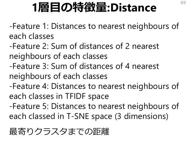 1層目の特徴量:Distance -Feature 1: Distances to nearest neighbours of each classes -Feature 2: Sum of distances of 2 nearest nei...