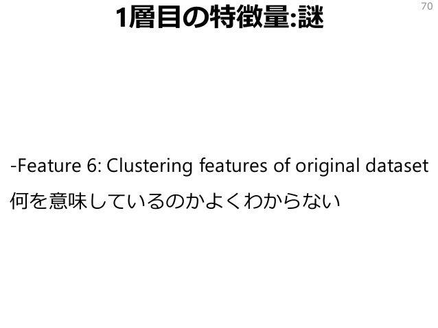 1層目の特徴量:謎 -Feature 6: Clustering features of original dataset 何を意味しているのかよくわからない 70