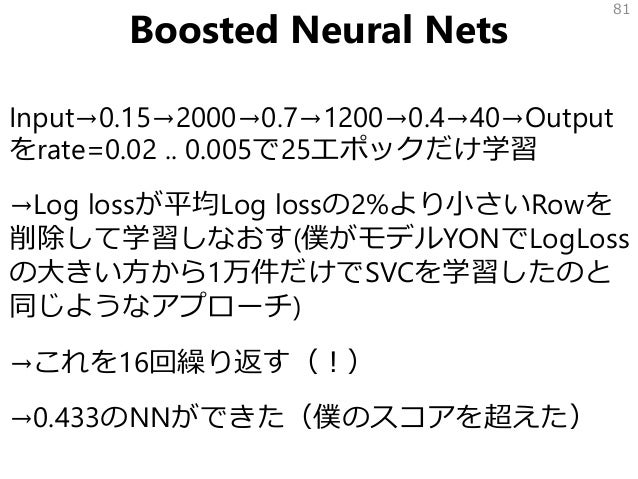 Boosted Neural Nets Input→0.15→2000→0.7→1200→0.4→40→Output をrate=0.02 .. 0.005で25エポックだけ学習 →Log lossが平均Log lossの2%より小さいRowを...